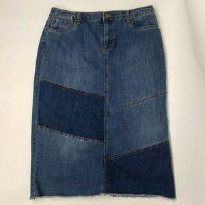CHRISTOPHER & BANKS Denim Patchwork Skirt Size 12